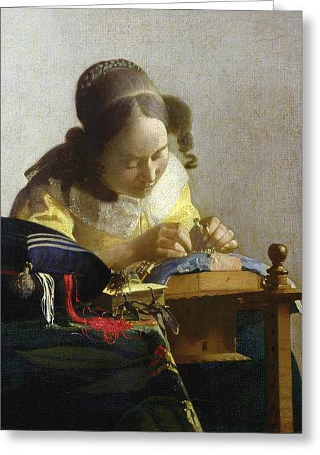 Vermeer Paintings Greeting Cards - The Lacemaker Greeting Card by Jan Vermeer