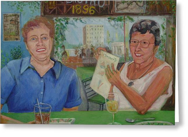 Good Woman Mixed Media Greeting Cards - The Ladies who do Lunch Greeting Card by Bonnie Wilber
