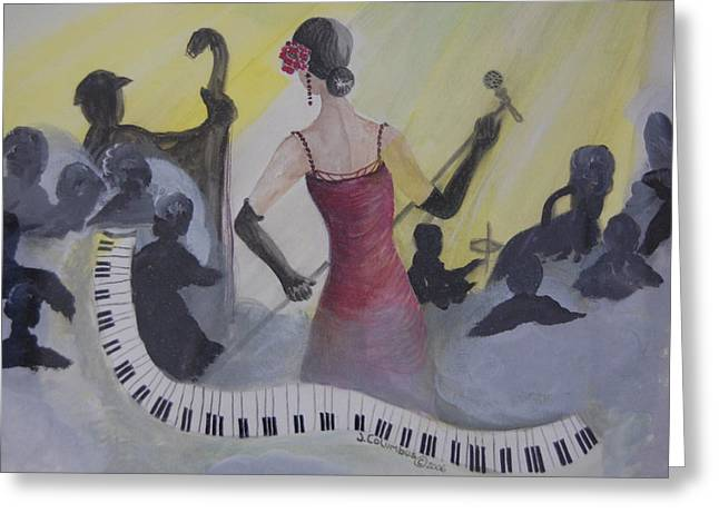Microphone Stand Greeting Cards - The Lady and Jazz Greeting Card by Janna Columbus