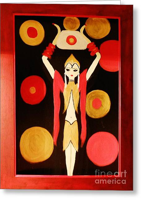 Disk Paintings Greeting Cards - The Lady and the Orbs Greeting Card by Marie Bulger