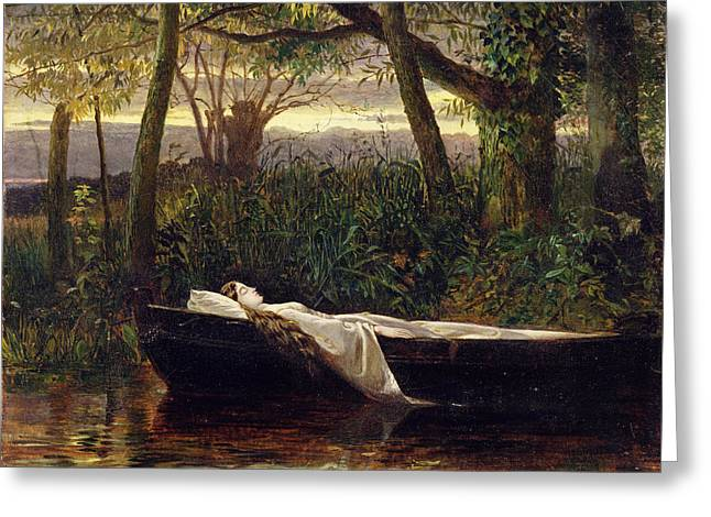 Woman Of The Forest Greeting Cards - The Lady of Shalott Greeting Card by Walter Crane
