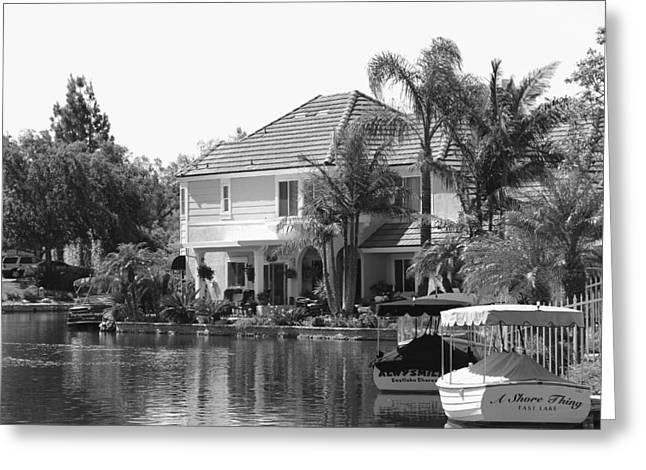 White Frame House Greeting Cards - The Lake Greeting Card by Athala Carole Bruckner