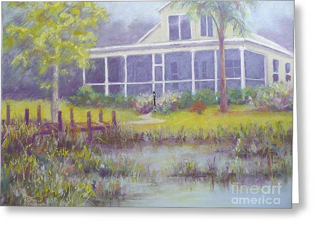 Dock Pastels Greeting Cards - The Lake House Greeting Card by Grace Goodson