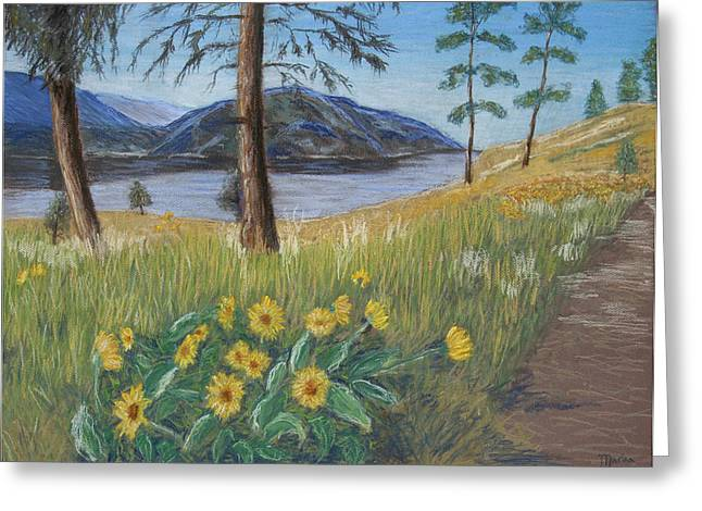 British Columbia Pastels Greeting Cards - The Lake Trail Greeting Card by Marina Garrison