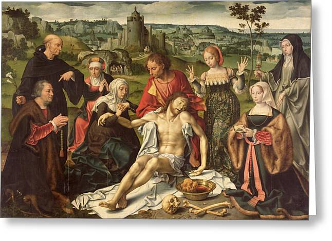 Cleves Greeting Cards - The Lamentation of Christ Greeting Card by Joos van Cleve