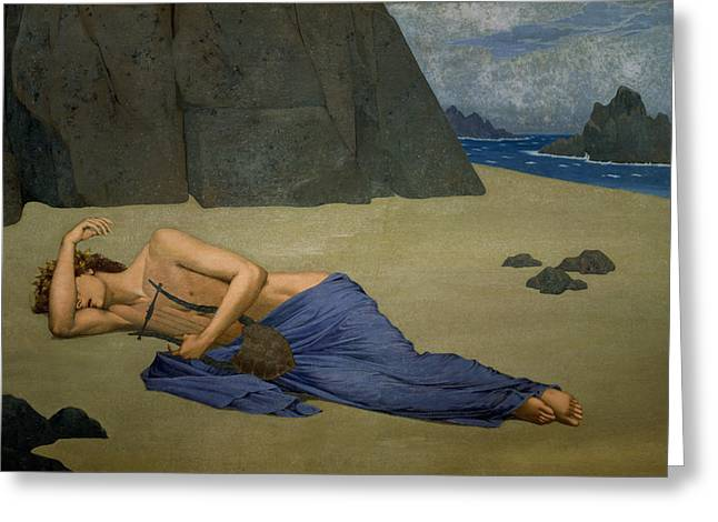 Lyre Paintings Greeting Cards - The Lamentation of Orpheus Greeting Card by Alexandre Seon
