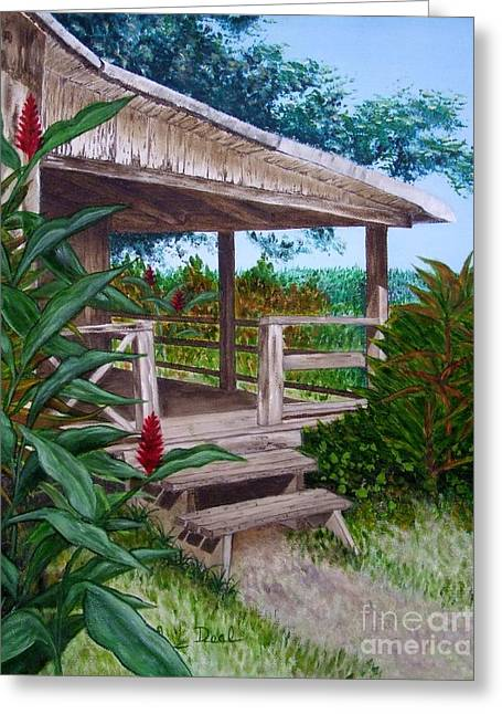Mary Deal Greeting Cards - The Lanai Greeting Card by Mary Deal