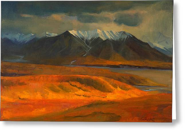 National Paintings Greeting Cards - The Land Beyond the Red Tundra Greeting Card by Douglas Girard