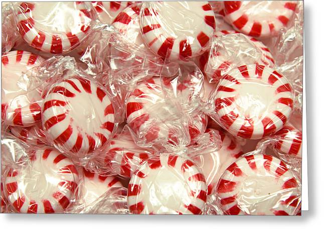 Peppermint Greeting Cards - The Land Of Peppermint Candy Square Greeting Card by Andee Design