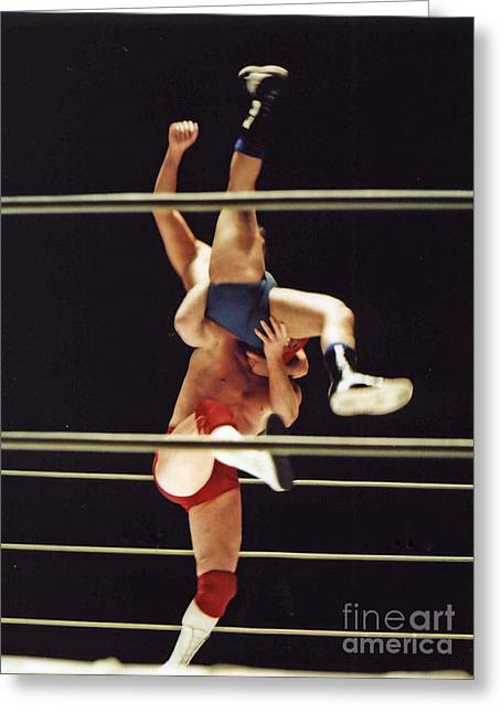 Jim Fitzpatrick Greeting Cards - The Landing is going to Hurt with Old School Wrestling from the Cow Palace  Greeting Card by Jim Fitzpatrick