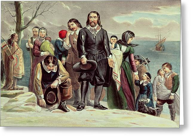American School; (19th Century) Greeting Cards - The Landing of the Pilgrims at Plymouth Greeting Card by Currier and Ives