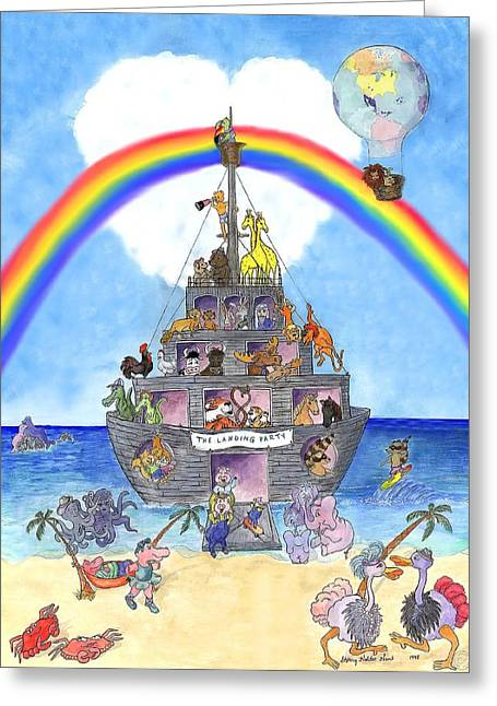 Noahs Ark Paintings Greeting Cards - The Landing Party  Greeting Card by Sherry Holder Hunt