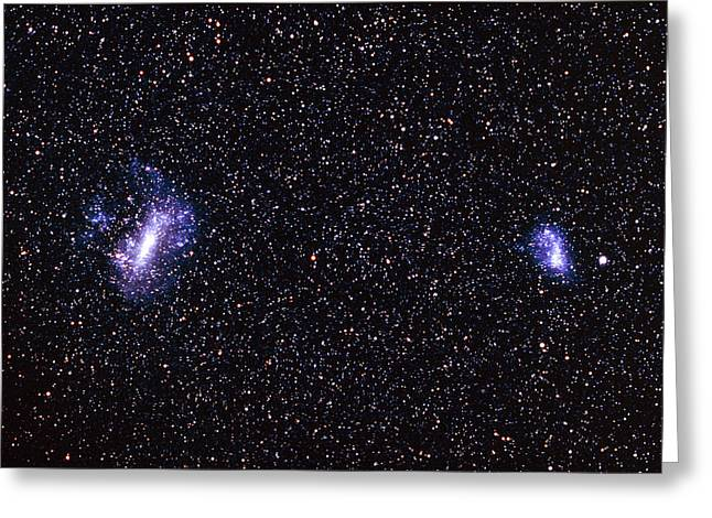 Small Magellanic Cloud Greeting Cards - The Large And Small Magellanic Clouds Greeting Card by Dr Fred Espenak