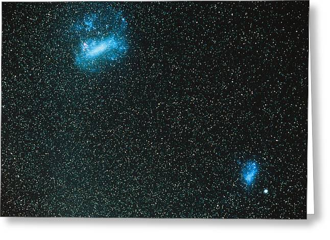 Small Magellanic Cloud Greeting Cards - The Large And Small Magellanic Clouds Greeting Card by Luke Dodd
