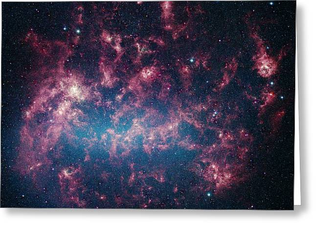 Interstellar Space Greeting Cards - The Large Magellanic Cloud, A Satellite Greeting Card by Stocktrek Images