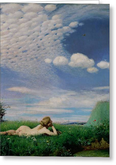 Solitude Paintings Greeting Cards - The Lark Greeting Card by Pal Szinyei Merse