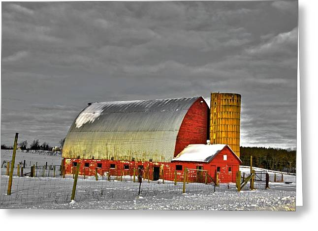 Old Barns Mixed Media Greeting Cards - The last barn Greeting Card by Robert Pearson