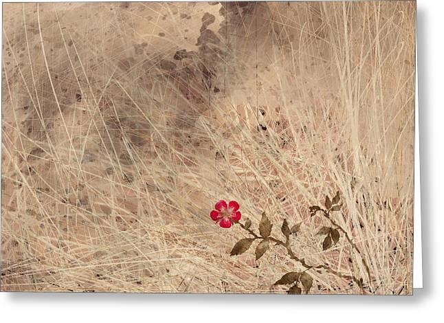 The Last Blossom Greeting Card by Rachel Christine Nowicki