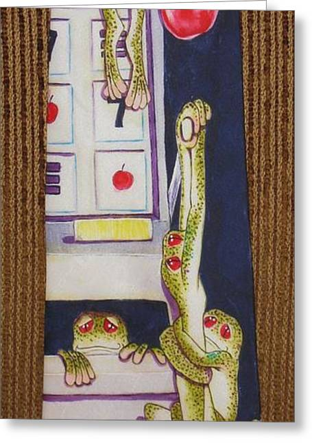 Amphibians Tapestries - Textiles Greeting Cards - The Last Cherry Greeting Card by David Kelly
