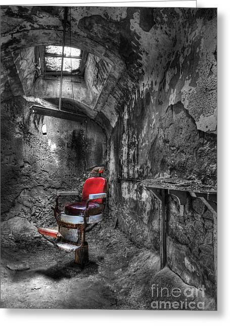 Ghost Illustration Greeting Cards - The Last Cut- Barber Chair - Eastern State Penitentiary Greeting Card by Lee Dos Santos