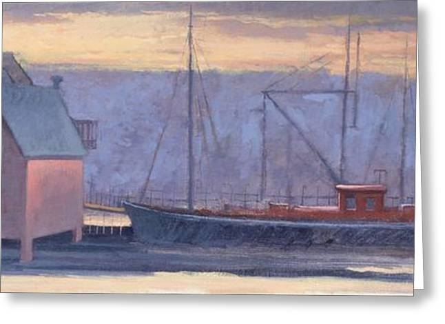 Sunset Posters Greeting Cards - The Last Fishing Shacks Gloucester Harbor Greeting Card by Richard Baumann