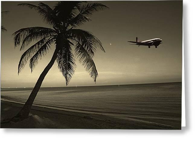 Susanne Van Hulst Greeting Cards - The Last Flight Out Greeting Card by Susanne Van Hulst