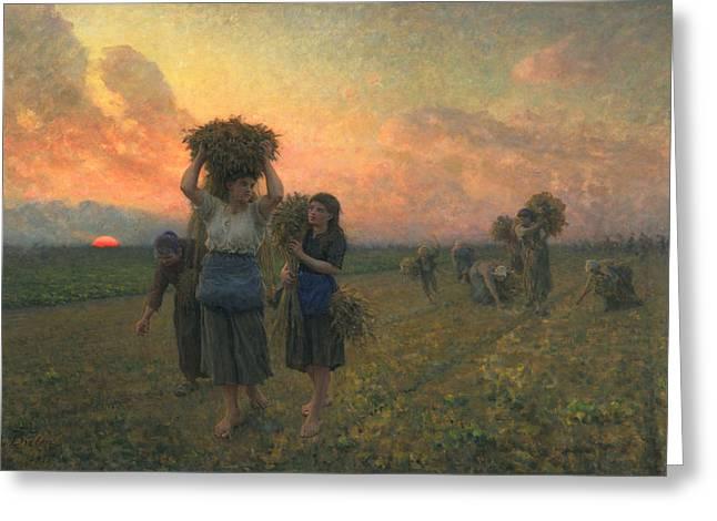 Harvesting Greeting Cards - The Last Gleanings Greeting Card by Jules Breton