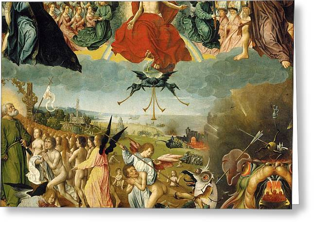 Folklore Greeting Cards - The Last Judgement Greeting Card by Jan II Provost