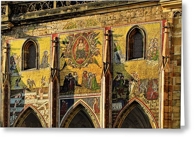 Glass Facade Greeting Cards - The Last Judgment - St Vitus Cathedral Prague Greeting Card by Christine Till