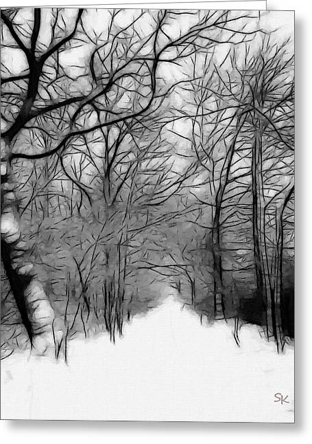 Snowy Roads Greeting Cards - The last path Greeting Card by Stefan Kuhn