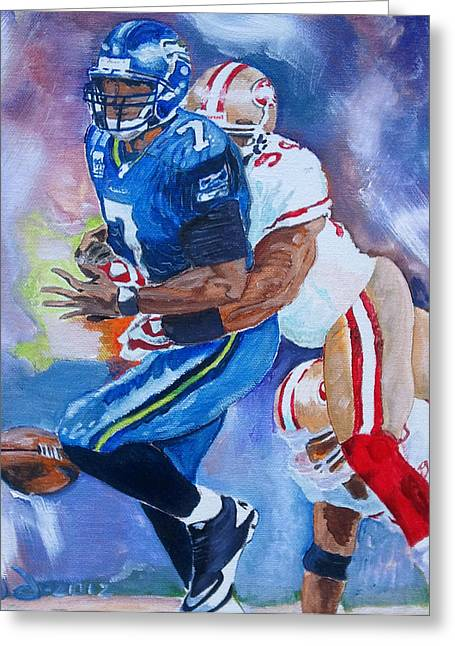 49ers Paintings Greeting Cards - The last play that mattered Greeting Card by Donovan Furin