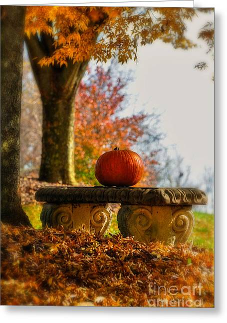 Orange Pumpkin Greeting Cards - The Last Pumpkin Greeting Card by Lois Bryan
