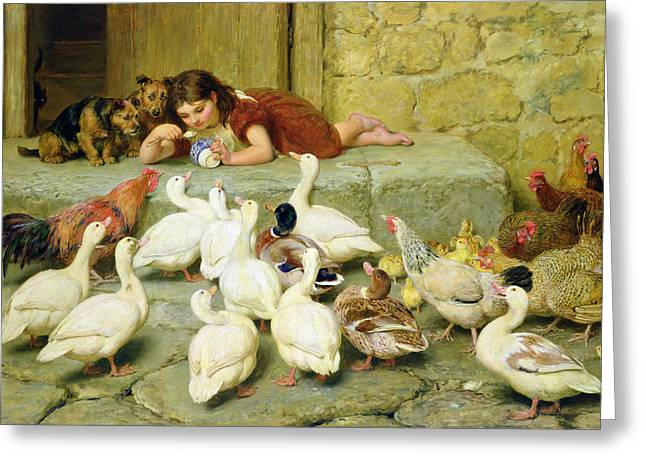 Animals Paintings Greeting Cards - The Last Spoonful Greeting Card by Briton Riviere