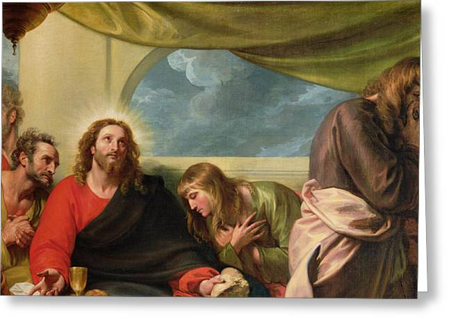 Evil Paintings Greeting Cards - The Last Supper Greeting Card by Benjamin West