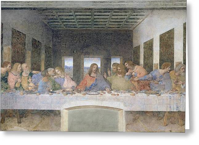 Posts Greeting Cards - The Last Supper Greeting Card by Leonardo da Vinci