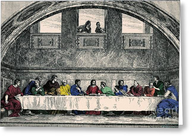 Water Into Wine Greeting Cards - The Last Supper Greeting Card by Photo Researchers