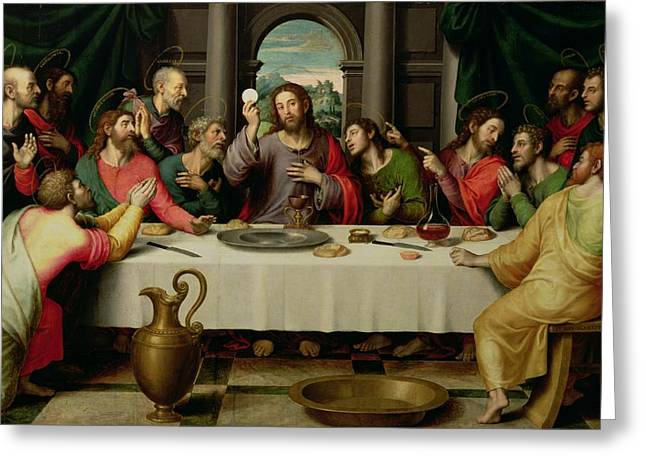 Christ Paintings Greeting Cards - The Last Supper Greeting Card by Vicente Juan Macip