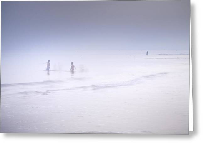 Foggy Beach Greeting Cards - The Last Swim Of The Day Greeting Card by Guido Montanes Castillo
