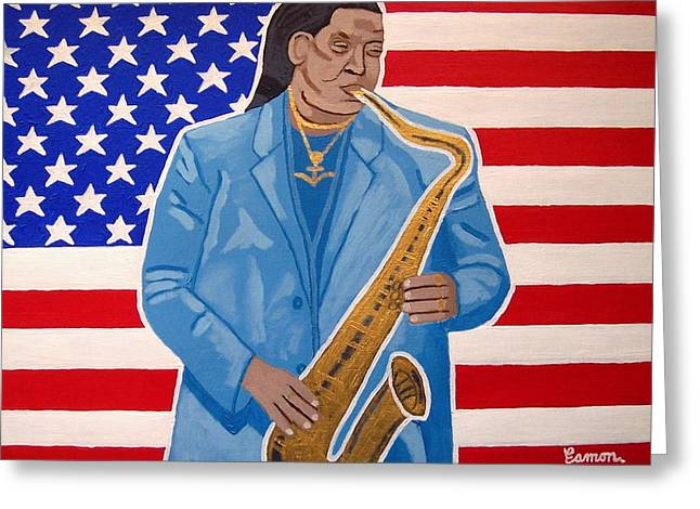 Recently Sold -  - Bruce Springsteen Paintings Greeting Cards - The Late Great Clarence Clemons Greeting Card by Eamon Reilly