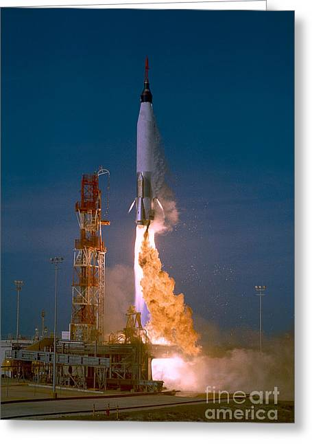Thrust Greeting Cards - The Launch Of The Mercury Atlas Greeting Card by Stocktrek Images