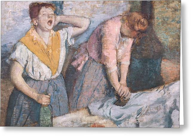 1884 (oil On Canvas) Greeting Cards - The Laundresses Greeting Card by Edgar Degas