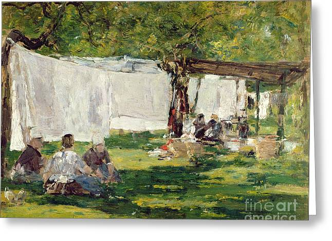 Gossiping Greeting Cards - The Laundry at Collise St. Simeon  Greeting Card by Eugene Louis Boudin