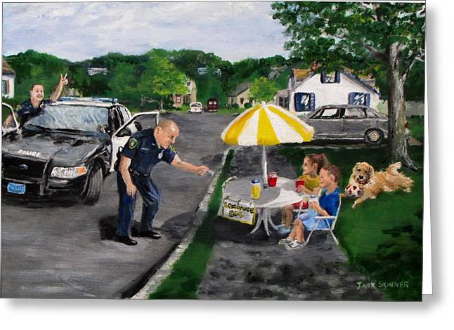 Police Patrol Law Enforcement Greeting Cards - The Lemonade Stand Greeting Card by Jack Skinner