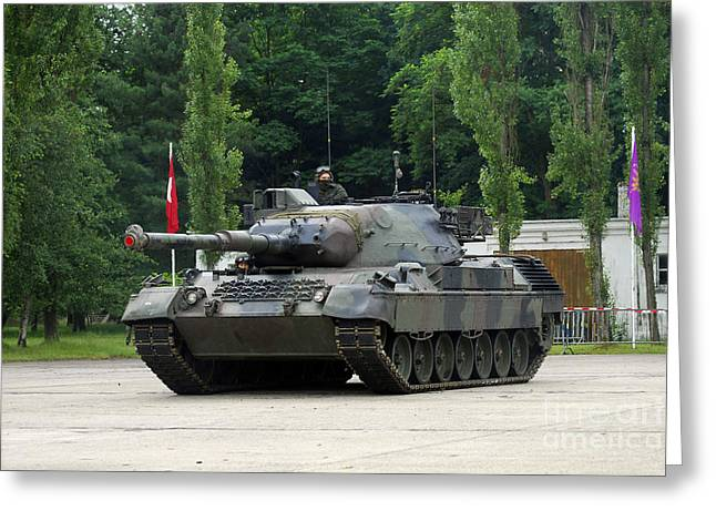 Component Greeting Cards - The Leopard 1a5 Mbt Of The Belgian Army Greeting Card by Luc De Jaeger