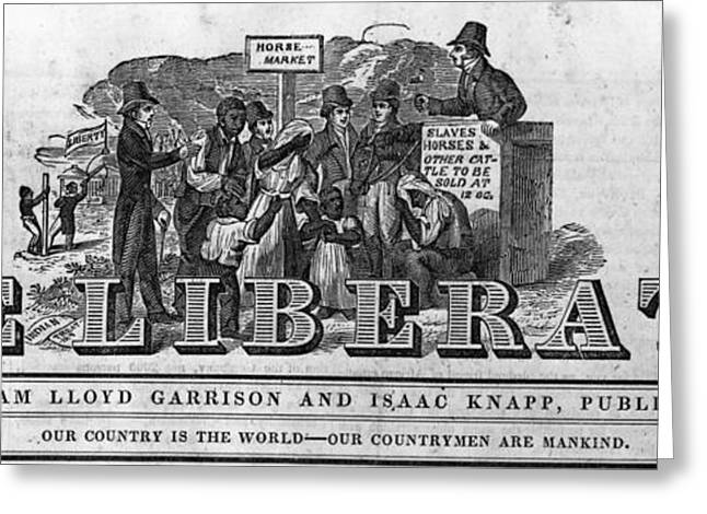 Slavery Greeting Cards - The Liberator Masthead Greeting Card by Photo Researchers