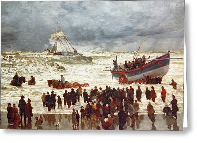 Sailing Boat Greeting Cards - The Lifeboat Greeting Card by William Lionel Wyllie