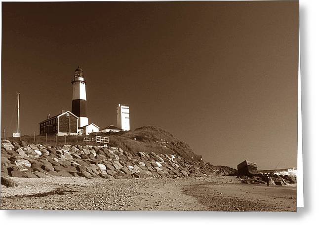 THE LIGHT AT MONTAUK POINT Greeting Card by Skip Willits