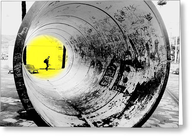 The Light At The End Of The Tunnel Greeting Card by Valentino Visentini