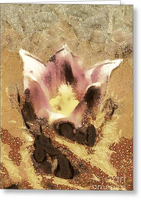 Recently Sold -  - Gold Lame Greeting Cards - The light flower Greeting Card by Odon Czintos