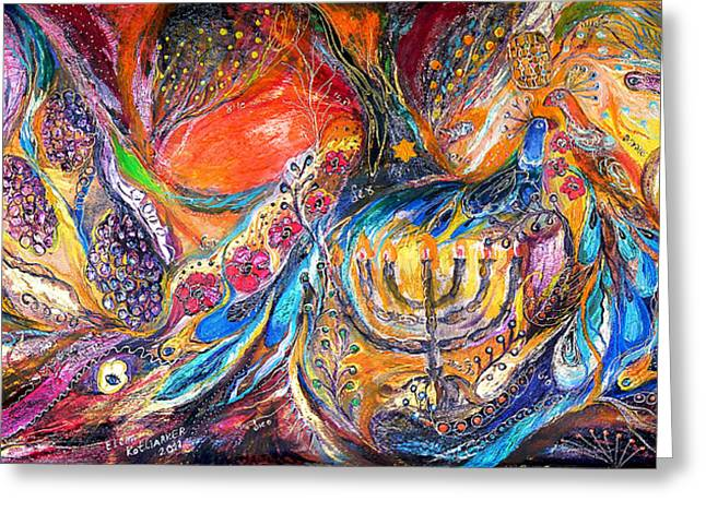 Priestly Blessing Greeting Cards - The Light of Menorah Greeting Card by Elena Kotliarker